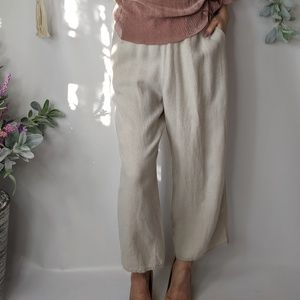 FLAX 100% linen cream wide leg crop pant